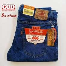 LEA celana lea jeans original pria standar - biru tua, 33