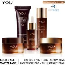 Y.O.U YOU Paket Golden Age Starter Pack 5 pcs (Day 30g + Night 30gr + Serum20ml + Facial Wash 100g + 2in1 Essence 100ml)