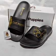Hush Puppies sandal slop hush puppies sandal slide hush puppies pria/wanita - hitam list gold, 38