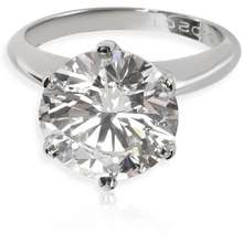 Tiffany & Co Pre owned Ladies Platinum 5.02 CT Round Cut White Diamond Solitaire Ring Size 6