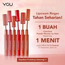 Y.O.U (Bpom) You Colorland - Powder Mousse Lip Stain [Formula Tahan Lama Hingga 8 Jam] Lipstick Matte (TRUE RED)
