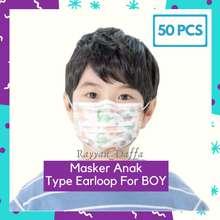 Sensi Masker Anak 3ply FOR BOY (Cowo) type earloop anak 3 ply 1box 50pcs / Masker Mirip sensi / Masker Kids / Masker Bayi / Warna dan Motif Random