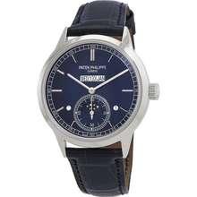 Patek Philippe Grand Complications In Line Perpetual Calendar Hand Wind Blue Dial Mens Watch 5236P 001