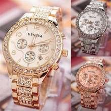 GENEVA galery shop j8-COD- Jam tangan wanita tahan air anti karat mewah diamond full quartz casual bahan stainless stell/jam tangan fashion wanita new arival /jam tangan korea korean style/jam tangan cantik (Rose Gold)