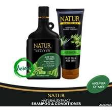 Natur Paket Shampoo & Condisioner Aloevera - 2 pcs (Menutrisi Dan Menjaga Kesuburan Rambut)