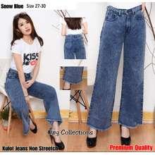 CELANA JEANS CEWEK OZY - Jeans Wanita KULOT Long Snow Rawis PREMIUM - Jeans Non Streetch/Tidak Melar (Pinggang:22, Blue Snow)