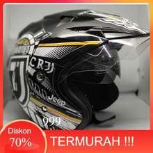 INK GRATIS MASKER - Helm Juventus CR7 - kwalitas setara helm half face KYT GM NHK Original Bukan helm motor Bogo Full Face. (Large, hitam)