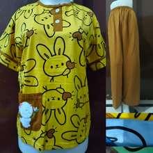 Amro Babydoll Cp Label Merah Baby Doll Lengan Pendek Celana Panjang Baju Tidur Wanita