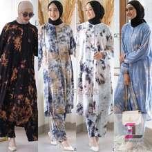 Vente Daily Viola One Set Jumbo Motif Tie Dye / Setelan Wanita Ld 120 / Long Tunik Big Size Busui