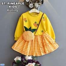 GSD NCR- Setelan Kaos dan Rok Anak Perempuan / Baju Anak Cewek Set Pineaple Gratis Tas Kecil