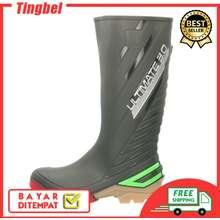 AP Boots Sepatu Ultimate 3.0 2015 Safety Shoes   Sepatu Boot Karet Pria Panjang Anti Air Licin Hujan Banjir Becek Lumpur Sawah Petani Berkebun (EU:39, Abu list Hijau)