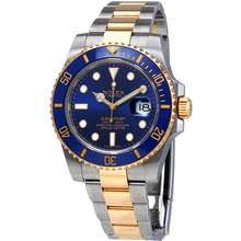 Rolex Submariner Blue Dial Stainless Steel and 18K Yellow Gold Oyster Automatic Mens Watch 116613BLSO