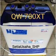 Aqua Japan Mesin Cuci 2 Tabung Aqua Sanyo 750/751 Xt Cuci Dan Kering Low Watt Tutup Transparan 7Kg