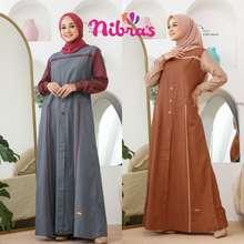 Nibra's Baju Gamis Nibras Terbaru Nb A87 Dress Wanita Dewasa Dark Grey Terracotta Nba87 Nb A87 Nba 87