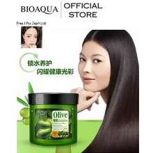Bioaqua Official Olive Oil Hair Mask Moisturizing Deep Repair 500gr - Masker Rambut Bio Aqua Dengan Extract Olive Oil Melembutkan Rambut Menutrisi Bebas Ketombe dan Berminyak Menjaga Rambut Tetap Lembut dan Tebal Free 1 Pcs Jepit Lidi Warna Random