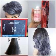Matrix Limited So Color 7.1 7A Medium Cool Blonde Grey Silver Metallic Icy Blue Navy Denim Socolor