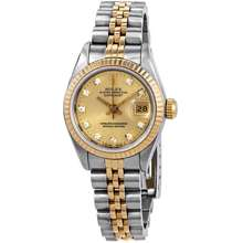 Rolex Pre owned Datejust Champagne Dial Jubilee Bracelet Ladies Watch 69173CDJ 26 mm