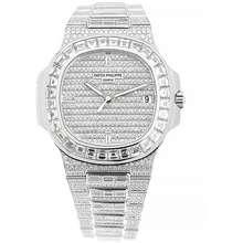 Patek Philippe Nautilus Automatic Diamond Silver Dial Watch 5719 10G 010