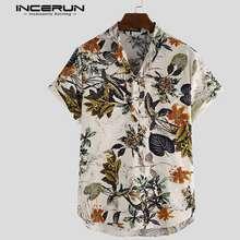 Incerun Men Short Sleeve Floral Button Down Casual Shirt