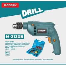 Modern M-2130 B Bor Listrik 13 Mm Tangan Kayu Besi Tembok Beton Impact Paket Set Electric Drill Bolak Balik Variable Speed Mesin M2130B M-2130B