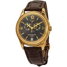 Patek Philippe Complications Moon Phase Grey Dial 18kt Yellow Gold Mens Watch 5146J 010