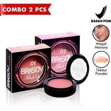 BRASOV Blush On Shade 01 dan 02 2 Pcs Pigmented Perona Bibir BPOM XX-CT COMBO