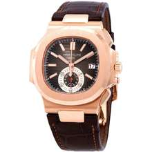 Patek Philippe Nautilus Black Brown Dial 18kt Rose Gold Case Matt Dark Brown Leather Mens Watch 5980R 001