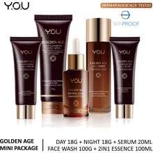 Y.O.U YOU Golden Age Paket Ekonomis 5 pcs (Day 18g + Night 18gr + Serum20ml + Facial Wash 100g + 2in1 Essence 100ml)