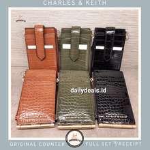 Charles & Keith Ck6-50840185 Croc Effect Thin Front Flap Card Holder Dompet Jastip Charles & Keith Original Counter Kartu Card Asli Croco