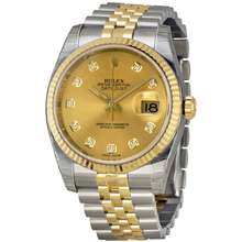 Rolex Pre owned Pre owned Oyster Perpetual Datejust 36 Automatic Chronometer Diamond Champagne Dial Mens Watch 116233 CDJ