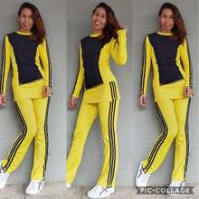 Zumba Baju Senam Aerobic Olahraga Panjang Outdoor Rok Poly Kombinasi Kuning Dd Hitam Standar S L