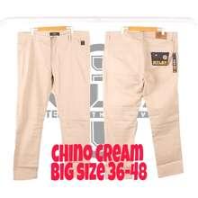 Moschino celana panjang chino JUMBO / BIG SIZE pria / 36 38 40 42 44 46 48 50 / INTLEX ORIGINAL - Cream