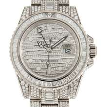 Rolex GMT Master II Diamond Automatic 18kt White Gold Set With Diamonds Mens Watch 116769TBR