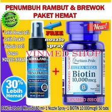 Kirkland Signature Paket Hemat Minoxidil Nozzle Spray Dan Biotin 10.000Mcg