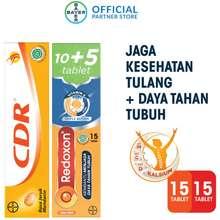 CDR Suplemen Kalsium Rasa Jeruk 15 Tablet & Redoxon Vitamin C, D & Zinc Rasa Jeruk 10+5 Tablet