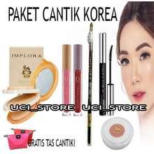 Implora paket make up lengkap murah 1 set /paket kosmetik wanita murah komplit / promo paket lengkap 6IN1 - bedak - Lipcream MADAM GIE OMBRE - pensil alis - BLUSH ON VIVA -MASKARA WATERPROOF GRATIS TAS KOSMETIK
