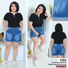 CELANA JEANS CEWEK Glf - Celana Jeans Boyfriend Pendek Wanita Model Hotpants Kaki Rumbai - High Quality - Model Kekinian - Best Seller - COD (Pinggang:27, Blue)