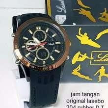 LASEBO Jam tangan pria original / jam tangan 204 tali karet (Hitam lis gold)