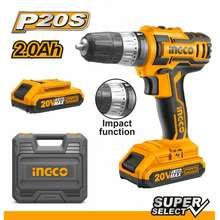Ingco Mesin Bor Impact Cordless 20 V (Baterai / Batre / Batrai) Untuk Beton Besi Kayu Cidli200215
