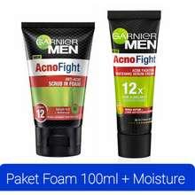 Garnier Men Paket Men Acno Fight Scrub 100Ml + Cream Moisturizer 20Ml Paket Men Anti Jerawat