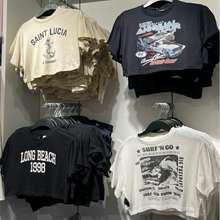 H&M [Jastip] Kaos Crop T-Shirt Wanita Oversized Alice Acid Wash Rolling Stone Kizz Unfinished [Terlaris]✨ Original Store