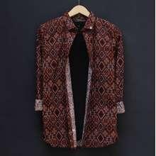 Bagus Hs50 Baju Kemeja Batik Songket Pria Lengan Panjang Hitam Size M L Bahan Katun Batik Cowok Motif Dayak Modern
