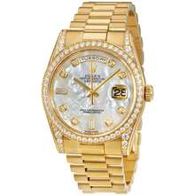 Rolex Oyster Perpetual Mother of Pearl Diamond 18K Yellow Gold Ladies Watch 118388MDP