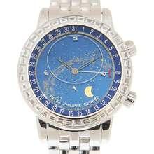 Patek Philippe Celestial Automatic Baguette Diamond Blue Dial Mens Watch 6104 1G 010