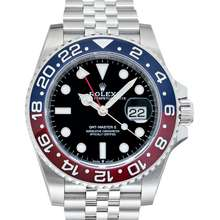 Rolex GMT Master II Pepsi Blue and Red Bezel Stainless Steel Automatic Black Dial Men's Watch