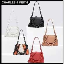 Charles & Keith Ck Shoulder Bag Wanita Chunky Multipose Rantai Tebal Balikkan Tas Selempang Original