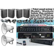 VPK Paket Sound Systm Mesjid Musholla Indoor Outdoor Toa 120Watt 25Watt X4
