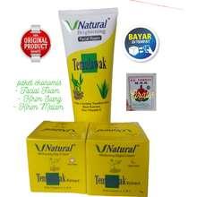 V Natural KS - Paket Temulawak Original Cream Siang Malam Glowing BPOM Dan Facial Foam Cream Penghilang Flek Hitam (100)