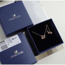 Swarovski X True Beauty Dazzling Swan Pink Necklace In Multi-Colored, Rose Gold Plated